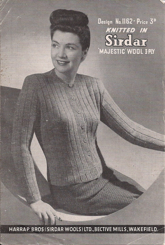 Pin Up 1950/'s Pin Up Sweater Vintage Knitting Pattern Copy