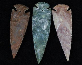 """3"""" Agate Arrowheads DRILLED Stone Knapped Arrowhead Spear Point Reproductions"""