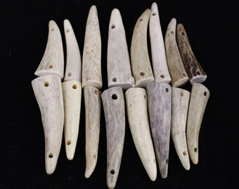 """Multipack 1.5-2.25"""" DRILLED 2 HOLE CONNECTOR Antler Tips Real Deer Bone Taxidermy"""