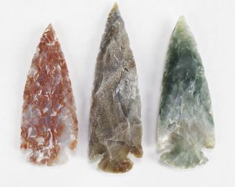 "3"" Agate Arrowheads Stone Knapped Arrowhead Spear Point Reproductions"