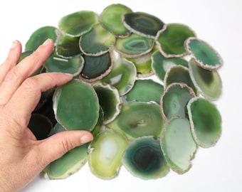 """Multipack 1.5-3"""" agate slices OLIVE green polished dyed slabs natural gemstone rock stone sliced mineral specimen"""