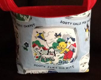 Sooty the bear vintage fabric made utility bin basket