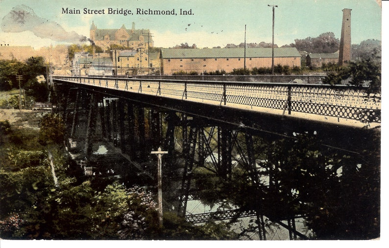 Vintage Postcard    Indiana, Richmond  Main Street Bridge   Used,  1912   no  IN0001