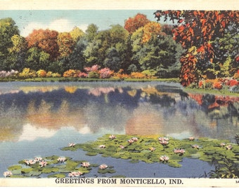 Vintage Postcard....Greetings from Monticello, Ind....Used...no. 2202