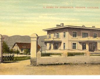 Vintage Postcard...Arizona, Tucson- A Home on Speedway...Unused...no. AZ0007