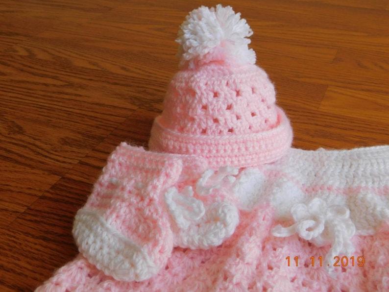hat booties Handmade preemie crochet dress set shower gift small newborn baby dress set dress