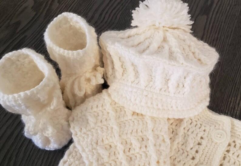 Handmade Crochet Baby Sweater Set newborn crochet sweater image 1