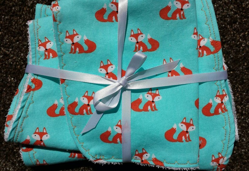Baby Gift Set-Layette Set- Baby Fox, 2 Baby Burp Cloths, 1 Baby Bib cotton  with terrycloth backing, Baby Shower Gift