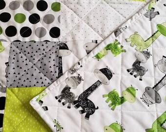 Handmade Baby Quilt-Baby Boy Quilt-Baby Boy Nursery-Dinosaur Theme Quilt-Crib Quilt-Baby Shower Gift