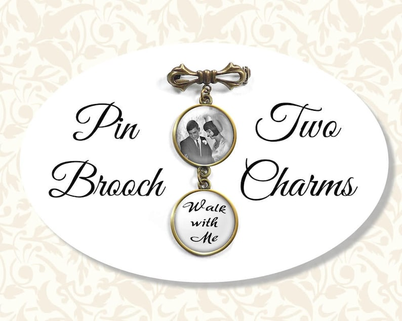 Custom Bow Pin With Two Charms Wedding Memory Brooch Bride image 0