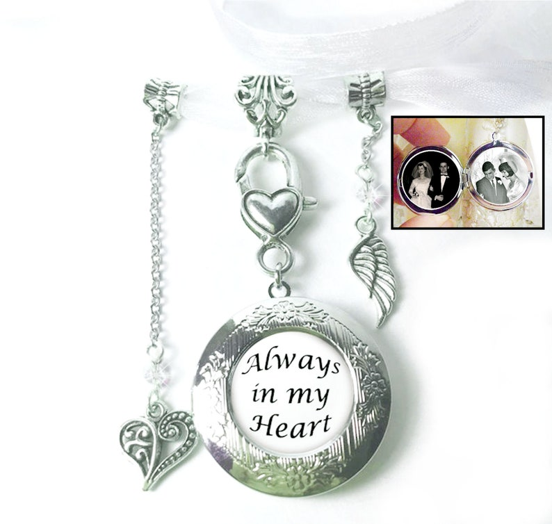 Locket for Wedding Bouquet With Charms Custom Photo Jewelry image 0