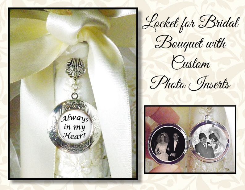 Wedding Bouquet Locket With Three Custom Photos and/or Quotes image 0