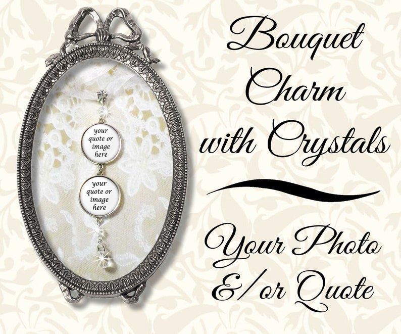 Beaded Bridal Bouquet Photo Charm With & Crystals Custom image 0