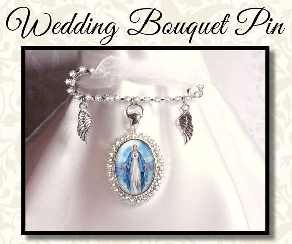 Immaculate Heart of Mary Mother Mary Bouquet Pin Blessed Mother Wedding Pin Blessed Mother Bridal Kilt Pin Catholic Bouquet Jewelry