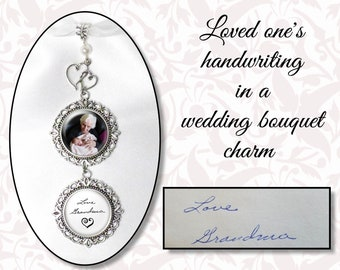 Loved One's Handwriting Bouquet Photo Charm, Crystal or Pearl Bead, Custom Wedding Bouquet Jewelry, Personalized Wedding Charm, 4 Finishes