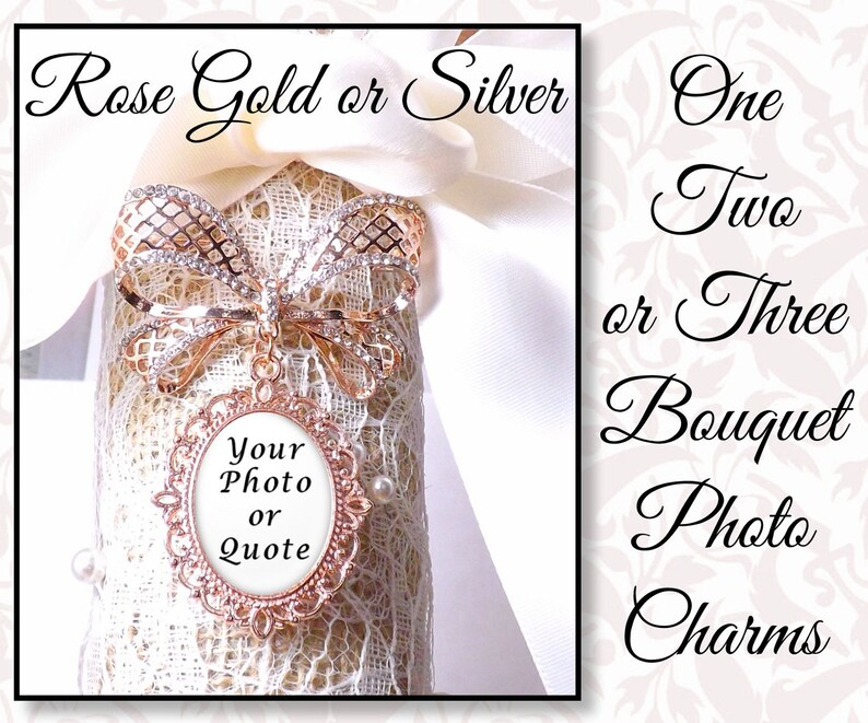 Bridal Bouquet Charm Rhinestone Bow With 1 2 or 3 photo image 0
