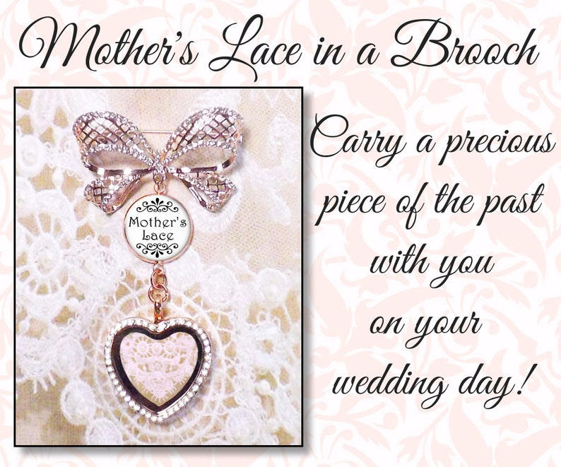 Wedding Bouquet Brooch Using Your Own Lace Mother's Lace image 0