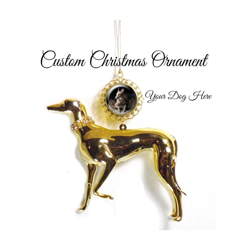Custom Greyhound Christmas Ornament Sighthound Tree Ornament image 0