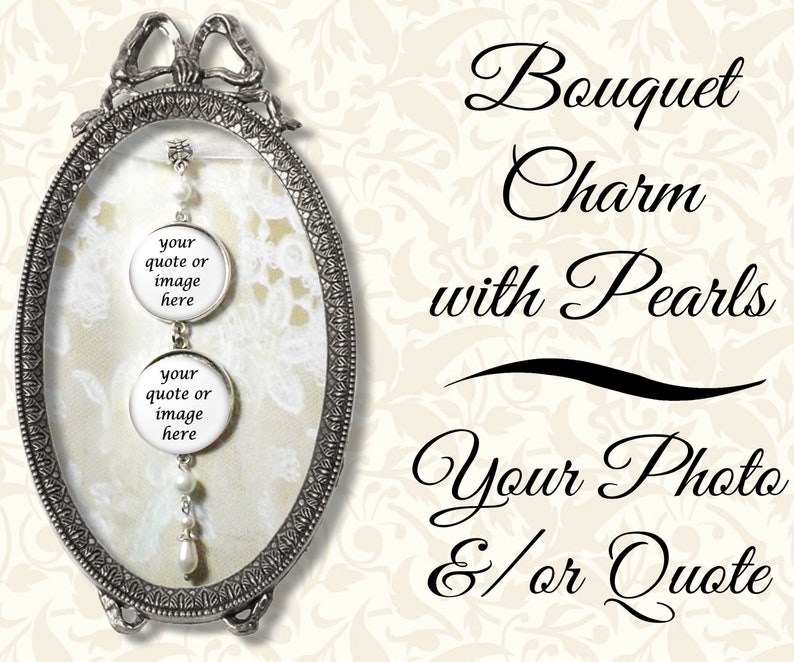 Beaded Bridal Bouquet Photo Charm With & Pearls Custom image 0