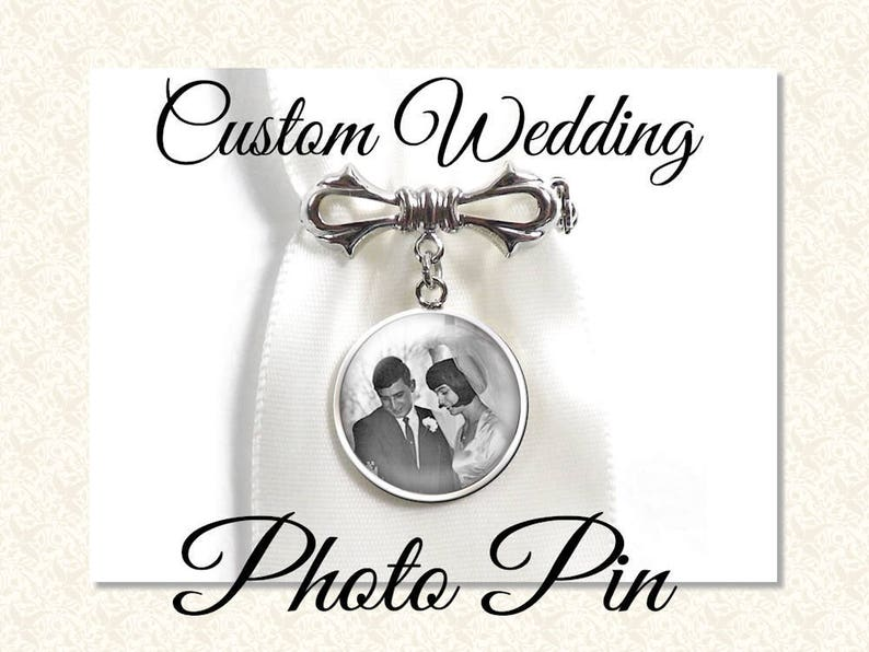 Custom Wedding Photo Pin Your Own Photo or Quote Custom Text image 0