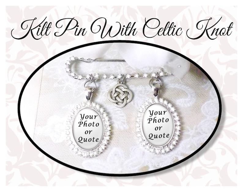 Rhinestone Kilt Pin With Celtic Knot Irish Bouquet Pin image 0