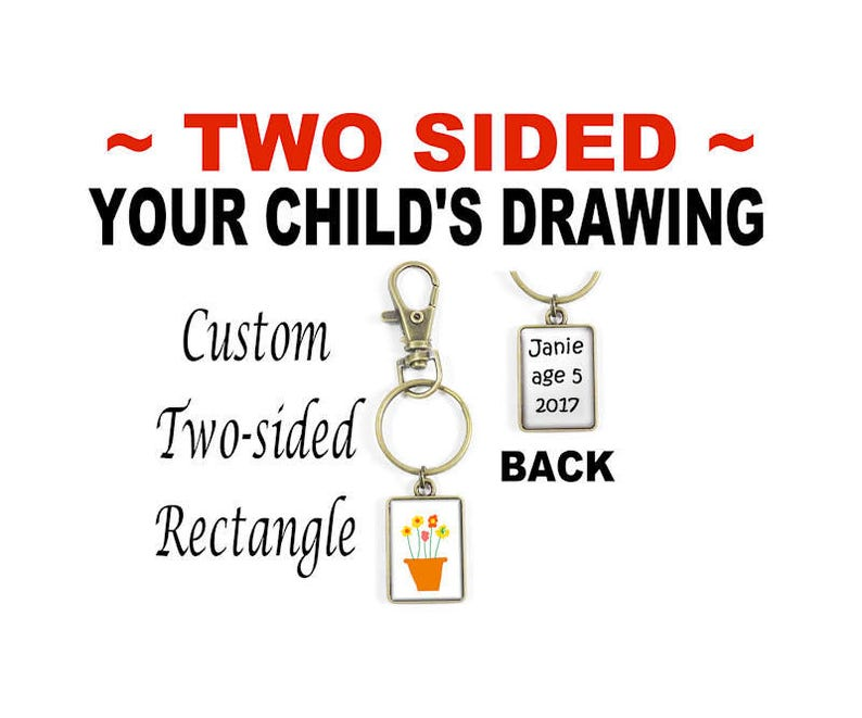 Your Child/'s Drawing Two-Sided Keyring Your Kid/'s Artwork Your Photo or Text in a Double-Sided Purse Clip Personalized Key Ring
