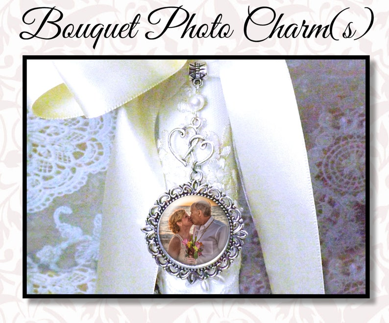 Double Heart Bridal Bouquet Photo Charm Crystal or Pearl image 0