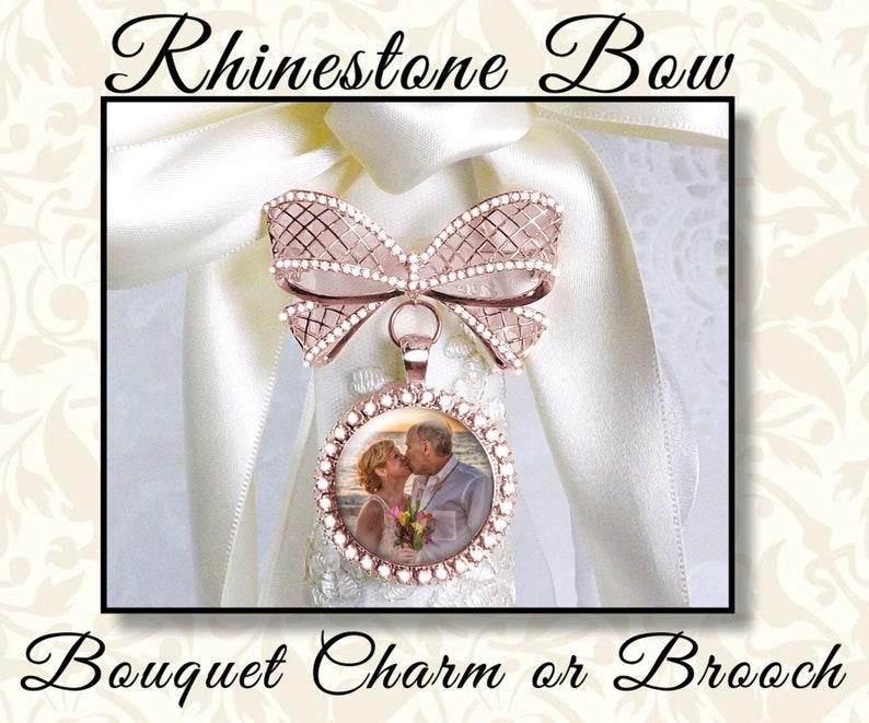 Rhinestone Bow Bridal Bouquet Charm 1 or 2 Sides Shower image 0