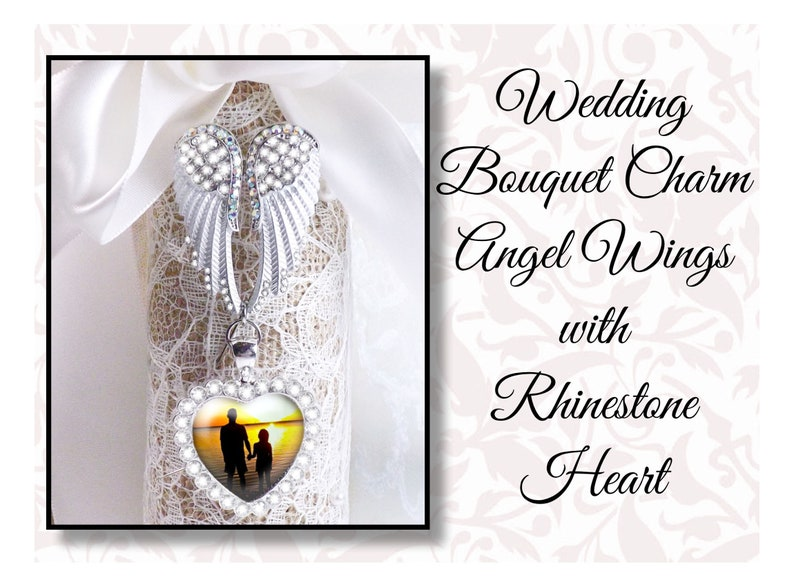Rhinestone Angel Wings With Rhinestone Heart Photo Charm image 0