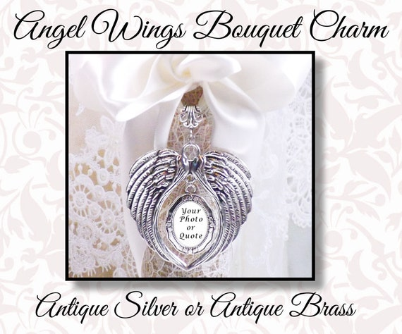 Sparkly Bridal Charm Memorial Pin Custom Bride/'s Bouquet Jewelry Wedding Bouquet Memory Charm with Angel Wings Kilt Pin Bridal Memento