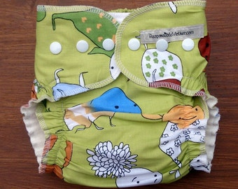 Hemp, organic cotton cloth diaper with print / pocket cloth nappy with inserts / natural materials