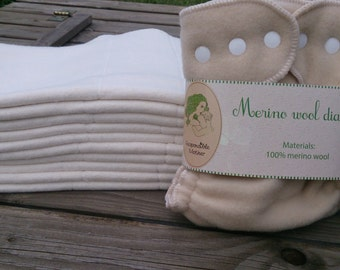 10 pc hemp organic cotton prefold (cloth diapers) +  1 pc merino wool cover with snaps / soaker / nappy wrap / wool wrap