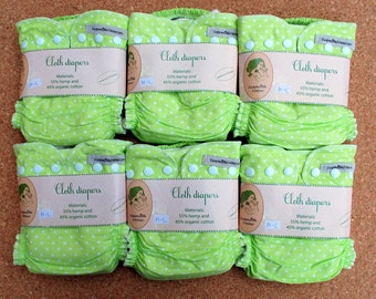 6psc hemp-organic cotton cloth diapers set/pack for baby + merino wool cover for free / full cloth diaper pack / nappy starter