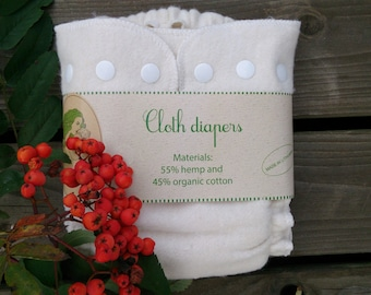 "Hemp, organic cotton cloth diaper / cloth nappy by ""Responsible mother"" Lithuanian hand made"