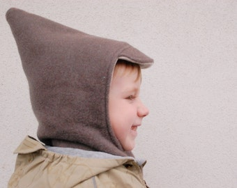 100% pure merino wool hat helmet (hat with scarf) / balaclava , soft, warm, natural and stylish for 3-4 years babies