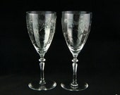 Rock Sharpe Water Glasses Wine Glasses - Pillar Optic Polished Cut Floral Leafy Pattern 2011-18 - Vintage 1930s Stemware (pair)