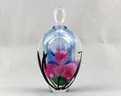 Satava Faceted Paperweight Perfume Bottle with Pink Irises - 1993