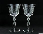 Rock Sharpe Stem 1023 Mystic Pattern Water or Wine Glasses Goblets Cut Leafy Floral Pattern - Vintage 1930s 1940s Stemware (pair)