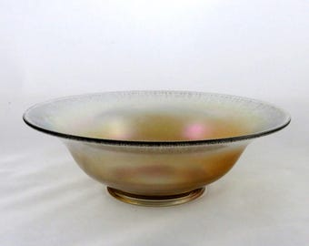 Jeannette Gold Stretch Glass Flared Centerpiece Bowl - Vintage 1920s Jeannette Glass