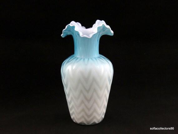Phoenix Blue Mop Satin Glass Vase Zig Zag Herringbone Etsy