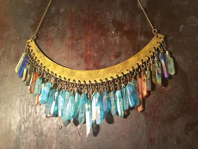 Mystical Quartz Crystal Chandelier Collar Necklace
