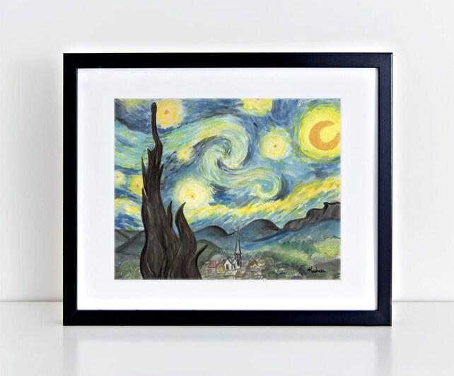 van gogh s starry night watercolor painting art print etsy