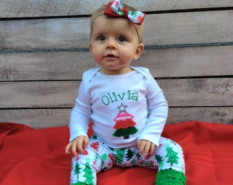 Christmas Baby Outfit, Christmas Girl Outfit, Baby Girl Christmas Outfit, Christmas leggings
