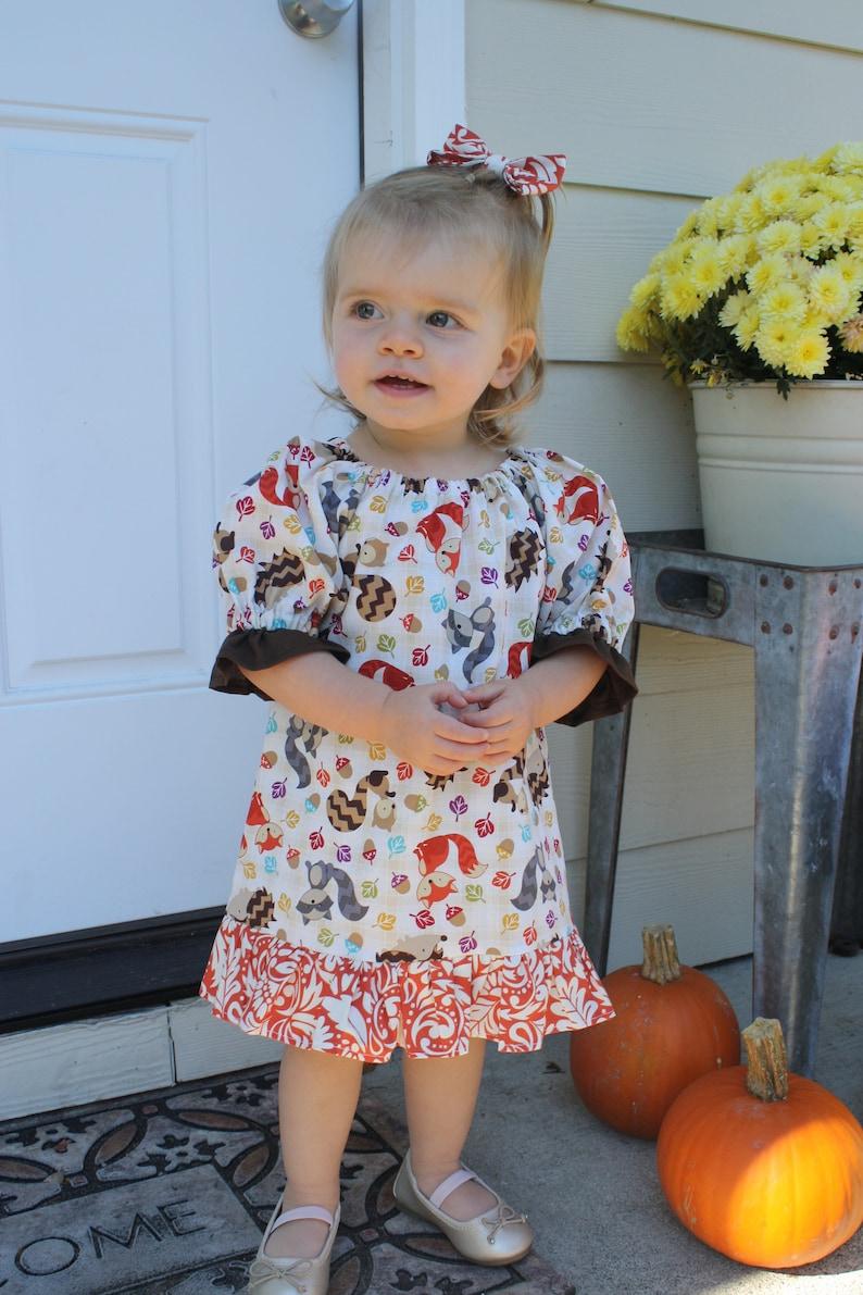 Girls Woodland Animal Dress CLEARANCE Girls Thanksgiving Dress