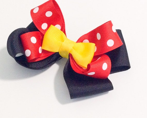 Minnie Mouse Disney  Stacked Boutique Hair Bow Red Dots Black Glitter