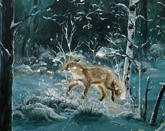 "Gicleé art print: ""Be your own light"". Fox, winter, snow, vulpes, nature, nordic, shamanic, art, shamanism, animism, healing, visionary"