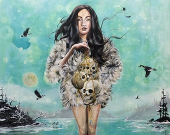 """Giclée art print: """"Oh the humanity"""". Winter, ice, woman, girl, skulls, ancestors, environment, pollution, responsibility, nature, nordic"""