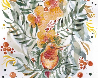 "Original watercolor: ""The hummingbird"". Flowers, bird, watercolor, guache, orange, red, yellow, exotic"