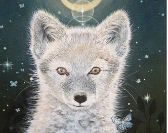 "Giclée art print: ""The revealer"". Arctic fox, vulpes lagopus, polarræv, shamanic art, shaman, healing, art, print, giclée, giclee, animal"