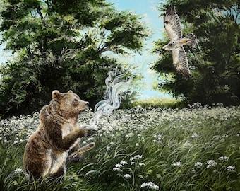 "Giclée art print: ""Help me see things clearly"". Bear, bjørn, musvåge, buzzard, shamanism, shamanic, shamanic art, incense, prayer, nature"